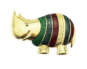 Enamel Rhinoceros Brooch, Gold Rhinoceros Pin, Gold Rhino Brooch, Striped Enamel Rhino pin