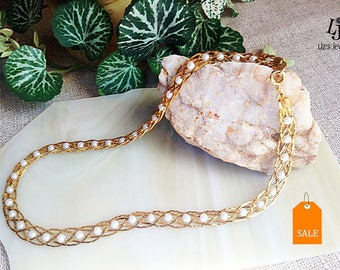 Vintage Avon Pearl Gold Necklace, reclaimed, Avon jewelry, vintage jewelry, vintage Avon