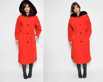 Vintage 90's Red Hooded Button Coat / Red Wool Button Maxi Coat / Hooded Wool Coat - Size Medium
