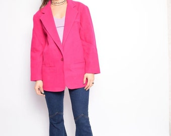 Vintage 80's Pink Wool Jacket / Pink One Button Jacket - Size Large