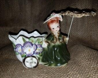 Vintage Porcelian Lady Planter W/Umbrella