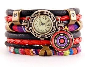 bracelet and a watch, cuff, stylish watch, boho
