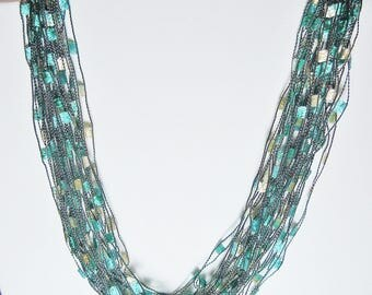 Gorgeous Trellis Scarf Necklace in Teal and Turquoise  (SKU 104)