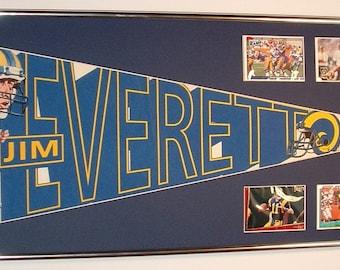 Los Angeles / St Louis Rams Quarterback Jim Everett pennant with cards...Custom Framed!!!