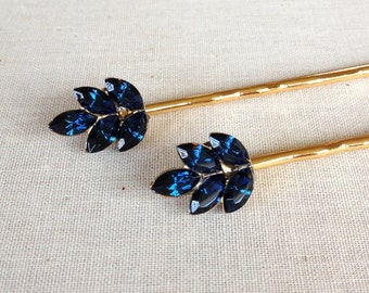 Navy Blue Rhinestone hair pins, set, pair, hair, accessory, rustic, gold, silver, blue, bridesmaid, hair, something blue, wedding party gift