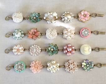 4 soft blush mint bridesmaid bracelets, vintage earring bracelet, pastel, mint, coral, blush, blue, green, rose, gold, cluster bracelet
