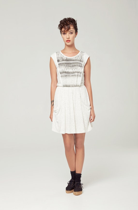ANDROMÈDE - sleeveless skater dress, empire waist, flared dress for women - textured white with edgy and grunge silkscreen