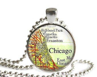 Chicago map necklace vintage Chicago Illinois map jewelry travel gift Wilmette, Evanston atlas pendant.