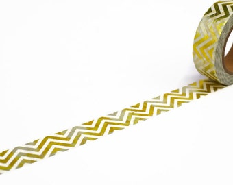 Foil Washi Tape with Chevron Pattern  - Gold & Silver Foil Zig Zag Masking Tape - Planner Supplies UK