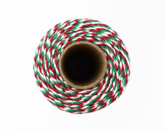 Christmas Baker's Twine 100m Spool - Red, White & Green Cotton Twine