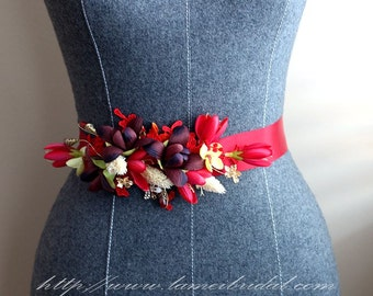 Special Design  Wine Red Flower Wedding Dress Sash, wine red Bridal Belt for Christmas Wedding, Red sash for black, red wedding prom dress