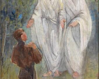 First Vision - Joseph Kneeling - By Minerva Teichert Nauvoo Art LDS Mormon