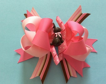 Chocolate Bunny Easter Layered Boutique Hair Bow