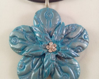 Blue and silver polymer clay flower pendant, flower necklace