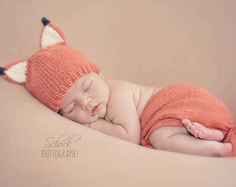 FOX BABY HAT | Fox Newborn Hat • Baby Fox Hat • Woodland Baby Hat • Newborn Photo Prop • Baby Shower Gift • Unisex Baby Hat • Fox Baby Gift