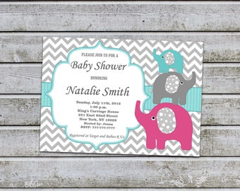 Neutral Baby Shower Invitations Boy Girl Elephant Baby Shower Invites Printable Baby Shower Invitation - FREE Thank You card (96a)