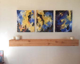 Painting Triptych | Fine Art Painting | Abstract Painting | Acrylic Painting | Handmade Art | Unique Decor | Abstract Triptych Painting