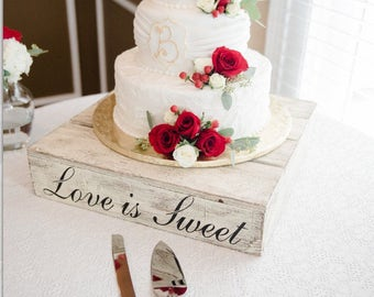 Rustic Wedding Cake Stand | Wood Cake Stand | Wedding Cake Stand | Love is Sweet | Custom | Barn Wedding