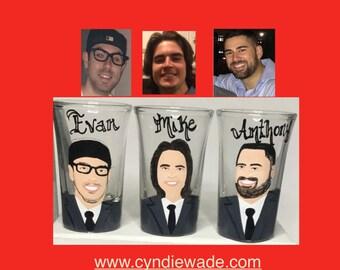 Six Caricature Shot Glass Custom Painted Portrait Shot Glass