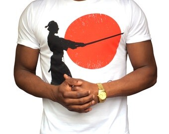 Fair Trade T-shirt Bold Print Graphic Tee Samurai Sunset Unisex Organic Cotton Green Slow Fashion Tshirt