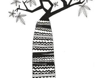 BAOBAB TREE, nature illustration