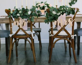 """Laser Cut """"mr & mrs"""" Wood Chair Signs - (Set of TWO) 14"""" x 5"""" Celebration Font Wedding Chair Sign - Engagement Party Event Anniversary Decor"""