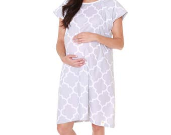 Phoebe Labor Delivery Maternity Hospital Gown Baby Be Mine Gownie Grey Baby Shower Gift, Hospital Bag Must Have, Monogramming available
