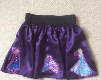 Frozen Ana and Elsa Appliquéd Purple Satin Skirt gathered onto a black elastic waistband