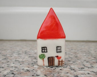 Little Ceramic House,Little Clay House,Cute Small House,White House,Tiny House,Miniature House,Terrarium House,Small details,Collectible