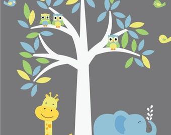 Jungle Tree Decal, Boys Girls Nursery Decal, Kids Room Tree Decal,  A106