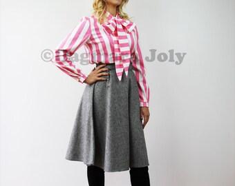 Gray tweed skirt, knee length skirt, office skirt, business clothes, half circle skirt, tweed skirt, office wear
