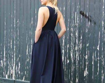Maxi length sleeveless navy summer dress, floor length navy dress, long dress, women dress, maxi dress, made to order, dress with pockets
