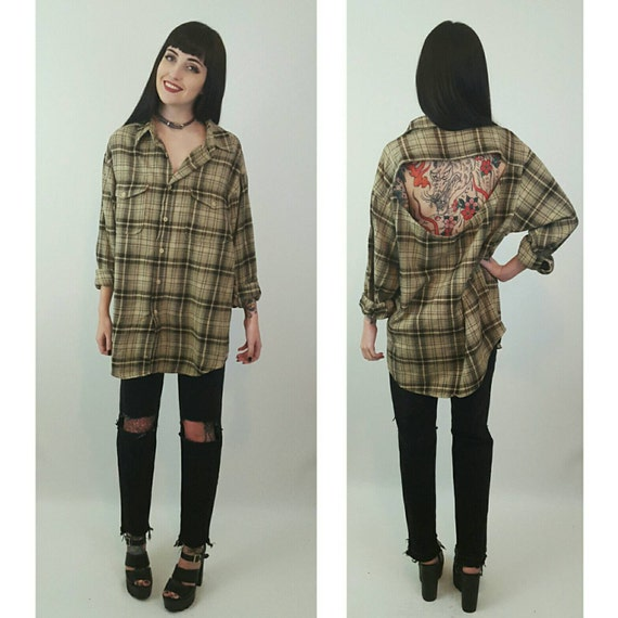 Remade Vintage Open Back Flannel Large - 90's Tan Brown Grunge Plaid Shirt - Slouchy Baggy Oversized Backless Tartan Cotton Cutout Top