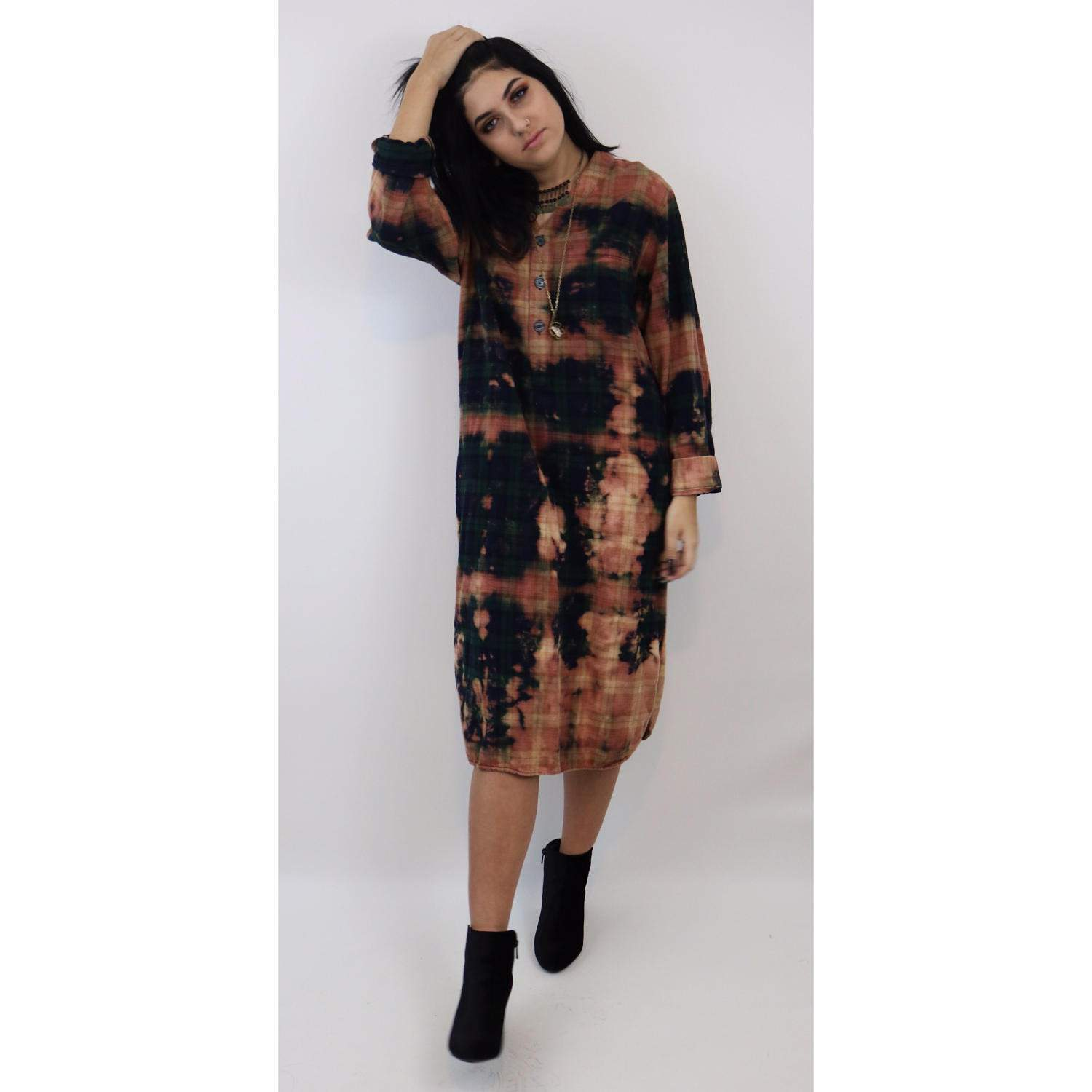 90 39 s tie dye bleach flannel dress bleached plaid flannel for Cosmic pattern clothing