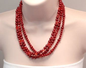 Red Necklace Red Pearl & Crystal Necklace, Red Pearl Necklace, 3 Strand Pearl And Crystal Bead Necklace, Red Statement Necklace (N446)