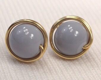 Grey Post Earrings. Gold Wire Wrapped Post Earrings, Gray Stud Earrings, Smokey Grey Bead Ear Studs, Versatile Minimalist Earrings (E45)