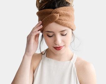 Hand Knit Turban in Copper, Chunky Knit Turban, Wool Headwrap, Winter Headband, Warm Womens Turband, Custom Color Turban