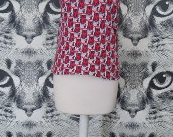 70s Knit Owl Print Polyester Tank / Vest / L / XL