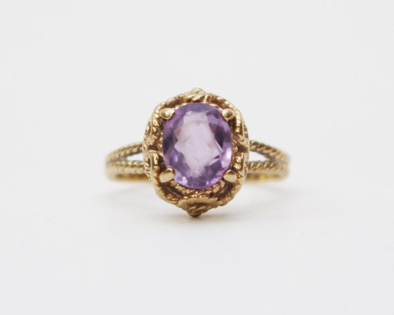 Antique 10k Amethyst Gold Ring - Vintage 1900s Gold Dinner Ring- Size 8 Womens Gold Ring