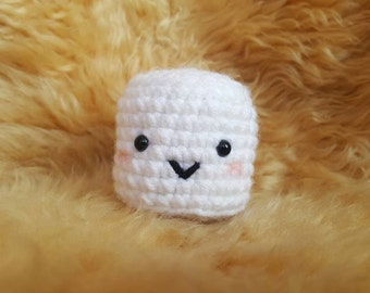 Happy Crochet Amigurumi Marshmallow Plushie, Crochet Candy Plushie, Marshmallow Keychain