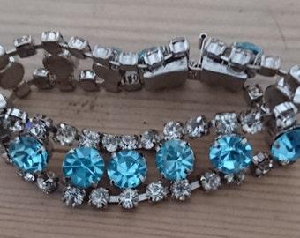 Vintage blue and white rhinestone bracelet