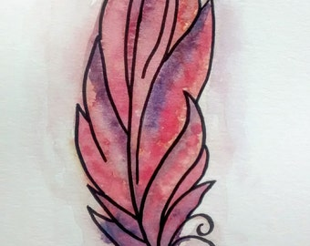 Feather original watercolor and ink painting by Erin Fortin (non-standard dimensions demo art deal)