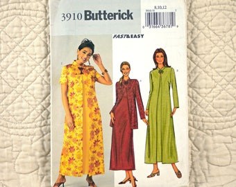 Jacket Duster Dress, S M, Butterick 3910 Pattern, Loose, Unlined, Back Zipper, Short or Long Sleeves, Sleeveless, 2003 Uncut, Size 8 10 12