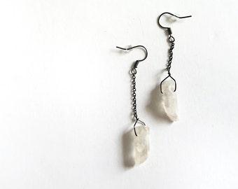 Raw Crystal Dangle Earrings Angel Aura Quartz Earrings Minimalist Jewelry Boho Fashion Simple Earrings Under 20 Rustic Bridesmaid Earrings