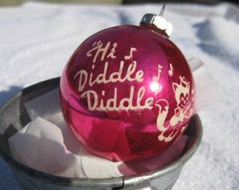 Vintage Shiny Brite Fuchsia HI Diddle Diddle Nursery Rhyme Christmas Ornaments Decorations