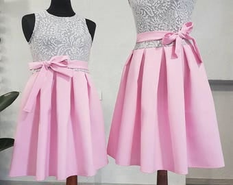 Mother and daughter matching dresses, mommy and me, perfect dresses, Grey elastic Lace with pink