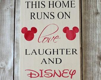 Disney Sign, Mickey Mouse, Home Runs on Disney, Wood Sign, Disney Wood Sign, Disney Art, Disney Decor
