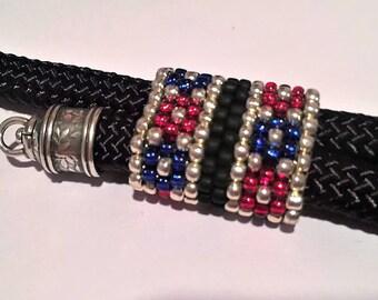 SALE: VERSATILE Handmade Beaded Tube Slider,  20mm Flat , Flower Detail in Silver, Cobalt Blue and Red.
