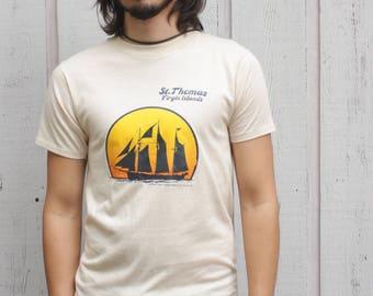 70's Saint Thomas Virgin Islands Tan Nautical Tee Shirt