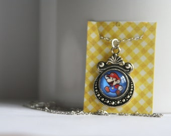 CLEARANCE Super Mario Brotheres Glass Cabochon Necklace with Chain